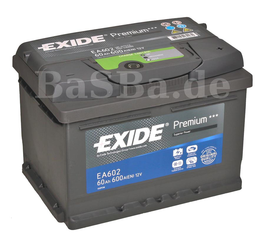 exide car battery 12v 60 ah opel astra f g h 1 6 2 0. Black Bedroom Furniture Sets. Home Design Ideas