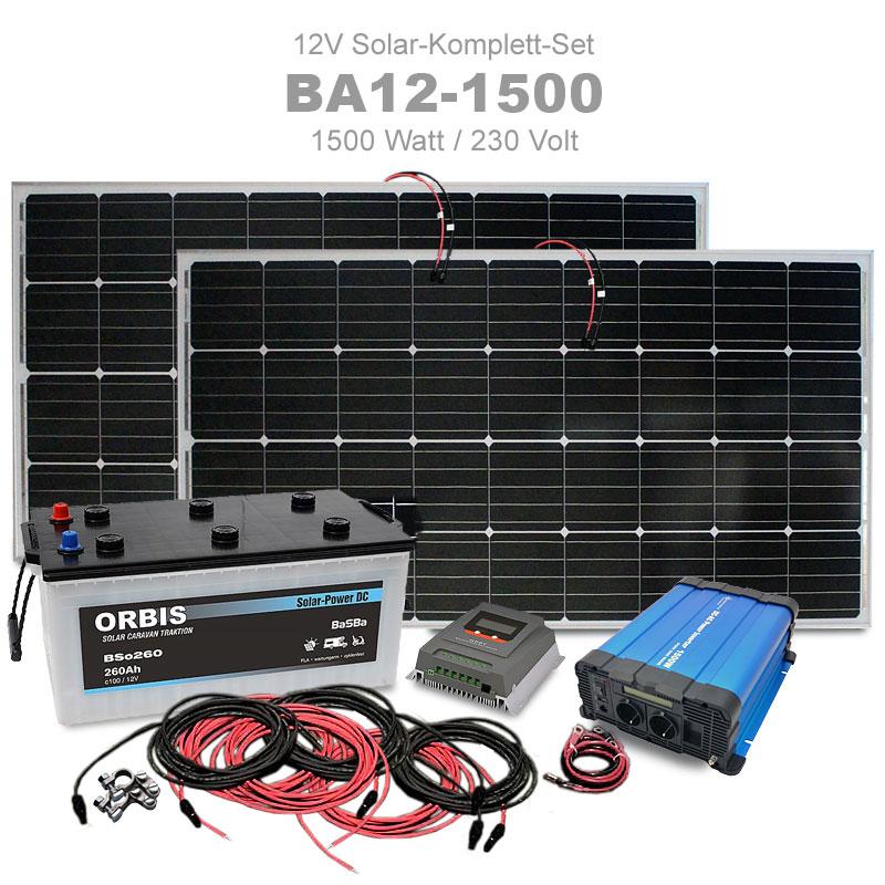 Insel Solaranlage 1500w Komplettset 12v 230v Ba12 1500