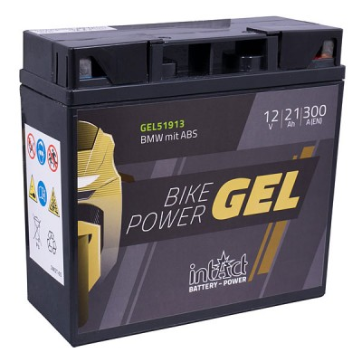 Intact 12V 21Ah Gel Motorradbatterie Bike-Power GEL51913, BMW mit ABS