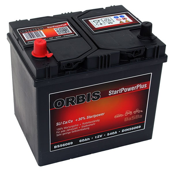 orbis bs56069 startpowerplus autobatterie 60ah pluspol links. Black Bedroom Furniture Sets. Home Design Ideas