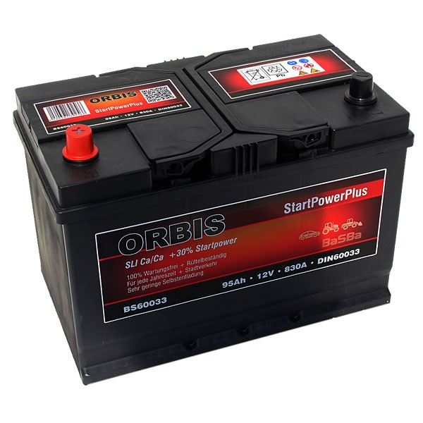 orbis bs60033 startpowerplus autobatterie 100ah pluspol links. Black Bedroom Furniture Sets. Home Design Ideas