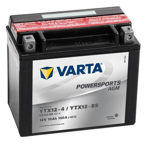 Varta YTX12-BS AGM Powersports YTX12-4 DIN 51012 Motorradbatterie, 12V 10Ah