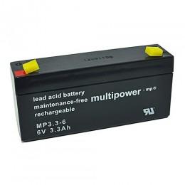 Multipower MP3.3-6 Bleiakku 3,3Ah 6V mit 4,8 Faston
